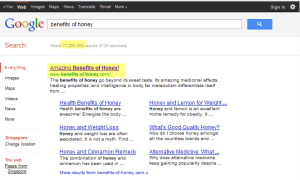 Results for google for keyword Benefits of Honey