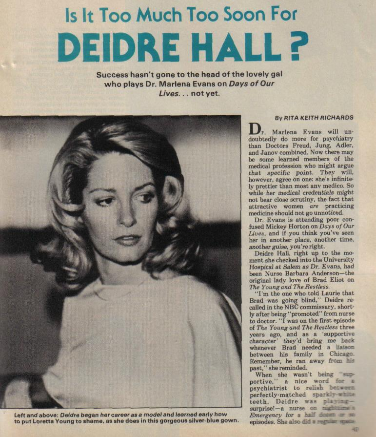 Is It Too Much Too Soon for Deidre Hall by Rita Keith