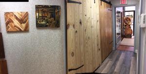 Barn doors in the Jason Brown Wood Floors showroom