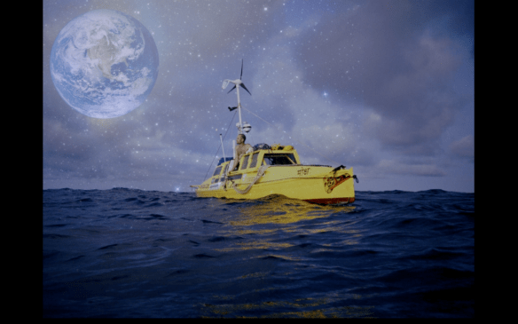 Environmental Speakers Program | Jason Lewis illustrates similarities between a small boat on the ocean and the Earth in space