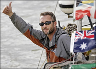 Adventurer Jason on the River Thames, about to complete the first circumnavigation of the world by human power