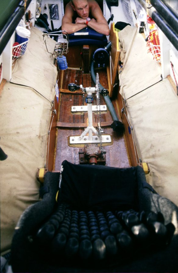 Exploring a sustainable future: Inside of pedal boat Moksha during Expedition 360