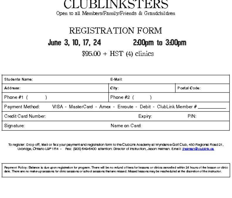 2017 Wyndance ClubLinkster Registration Form