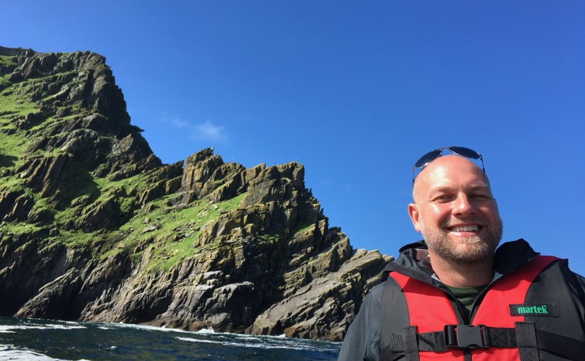 Jason in front of Skellig Michael on the Ferry.