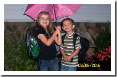 Allison and Ryan head to school on Wednesday.