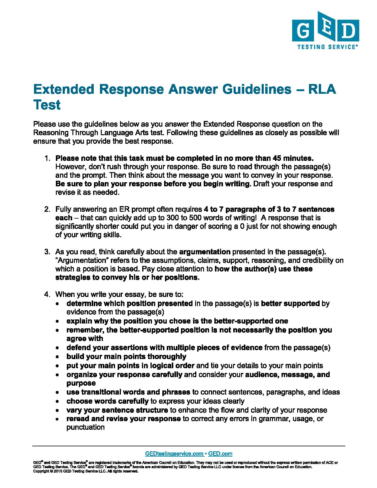 Ged Writing Test Practice Worksheet