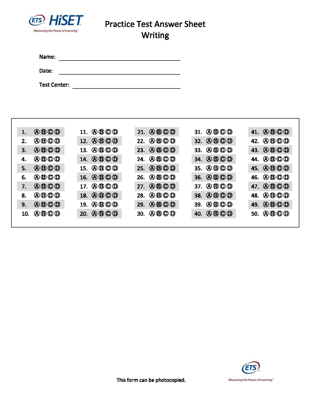 Hiset Practice Test Math Worksheets Hiset Best Free