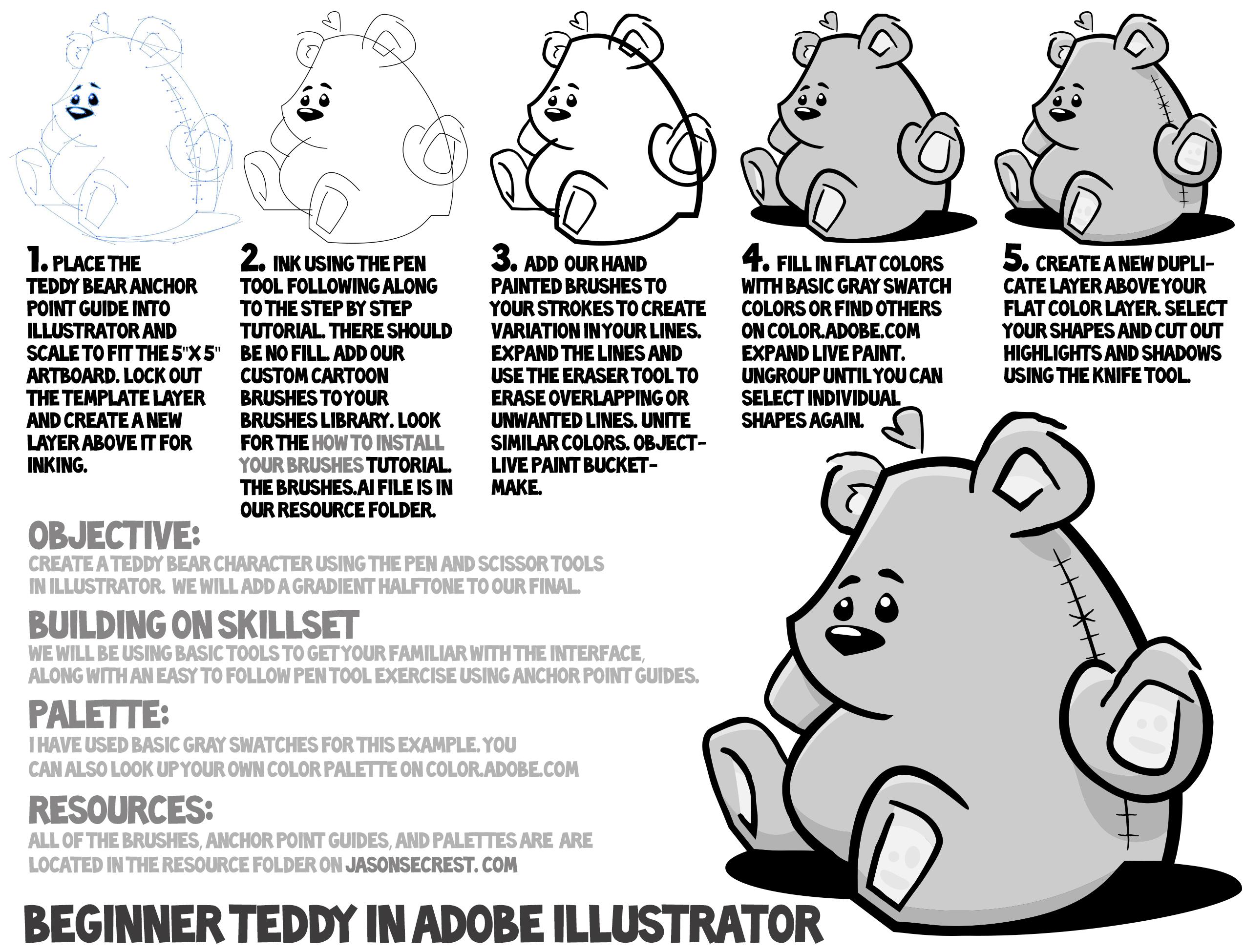 Adobe Illustrator Tutorial using Comic Strip Brushes