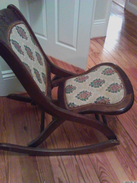 round oak table and chairs best inc swivel rocker recliner jason's junk - antique folding rocking chair free appraisal identification of antiques ...