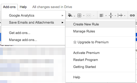 Add-ons > Save Emails and Attachments > Create New Rule