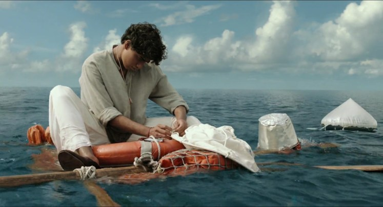 Life of Pi (2012), directed by Ang Lee and starring Suraj Sharma, Irrfan Khan and Rafe Spall.