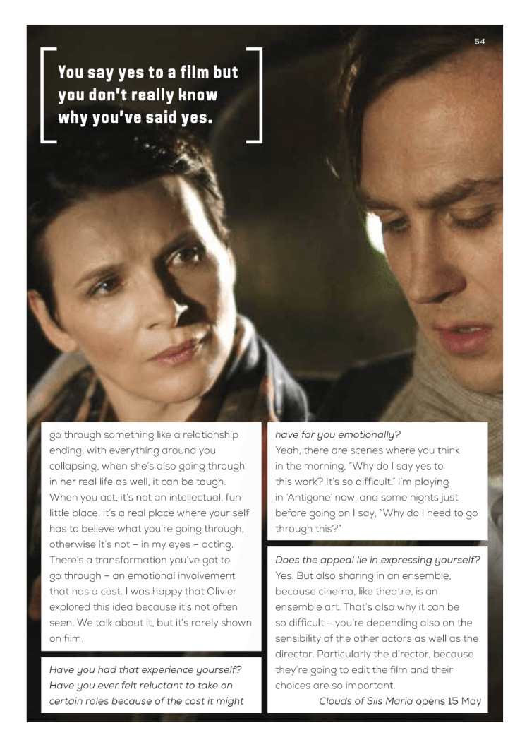 Juliette Binoche (Clouds Of Sils Maria) interview / Curzon Magazine