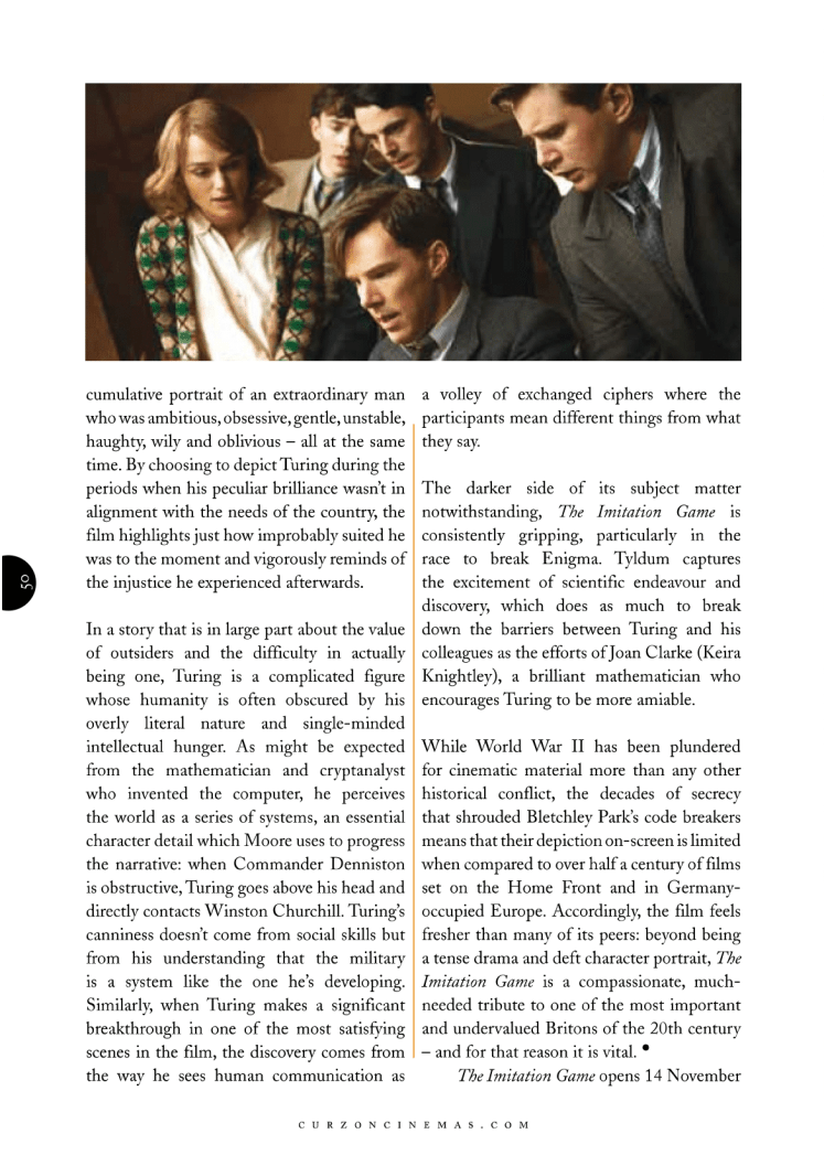 The Imitation Game (2014) feature for Curzon Magazine, directed by Morten Tyldum, starring Benedict Cumberbatch and Keira Knightley