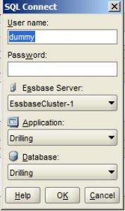 Essbase SQL Data Load Credential Dialog