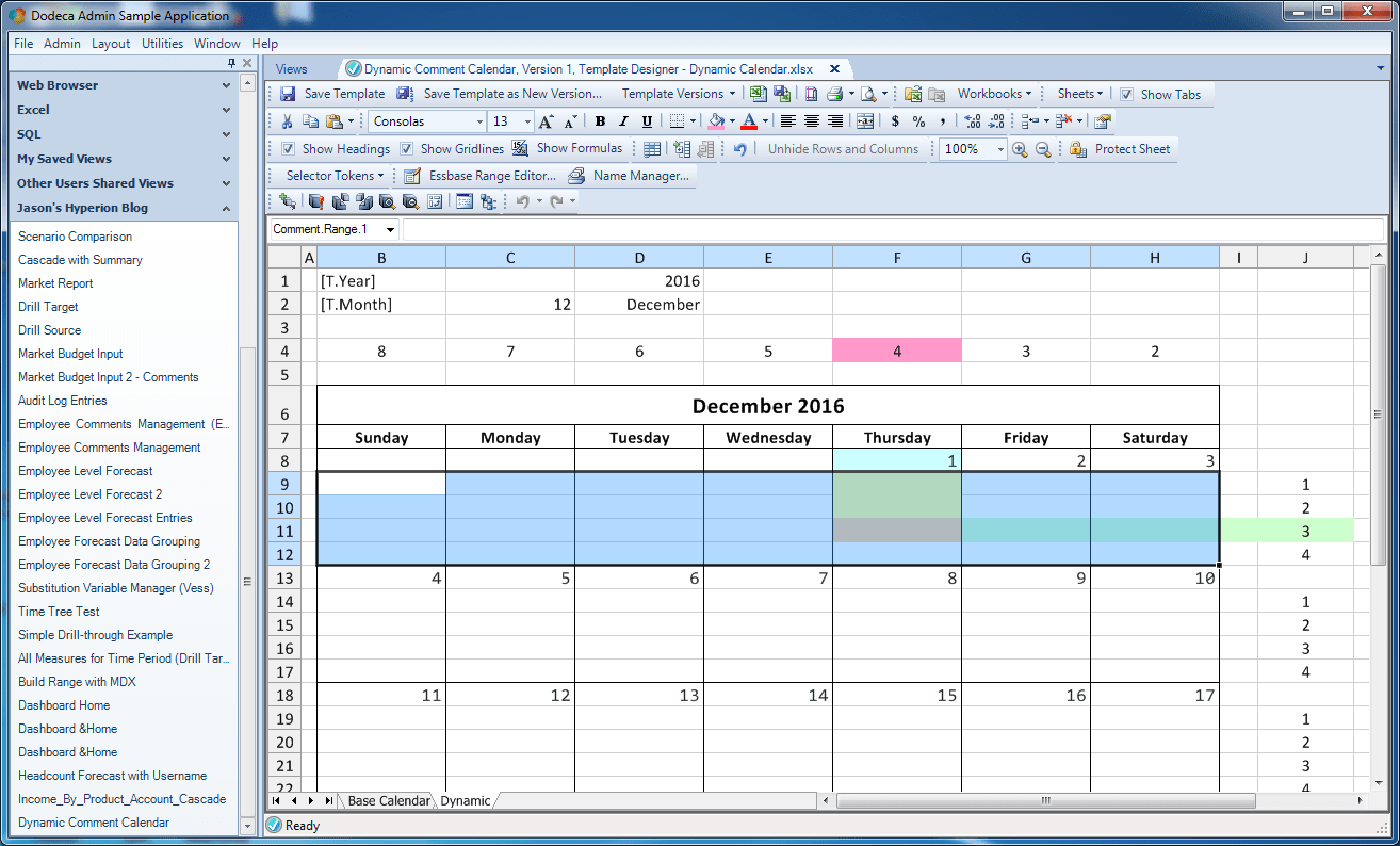 Dynamic Calendar With Comments In Dodeca Jason S