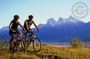 Mountain biking in the Canadian Rockies Banff National Park.