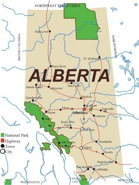 Canada Map Calgary on