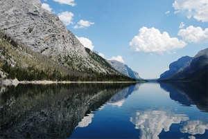 Devil's Gap at Lake Minnewanka, Banff National Park, Canadian Rockies.