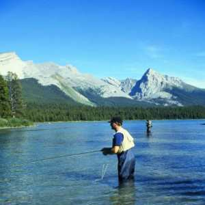 Fly fishing in Banff, Alberta, in the Canadian Rockies.