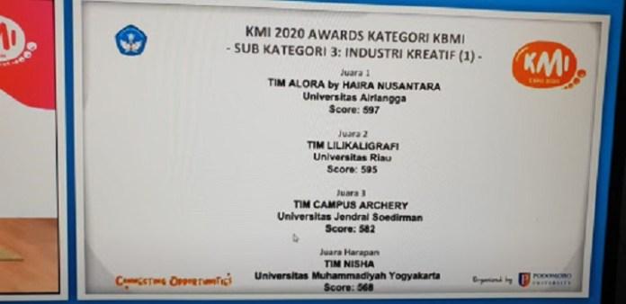 UNAIR Sabet Juara Umum Ajang KMI Award 2020