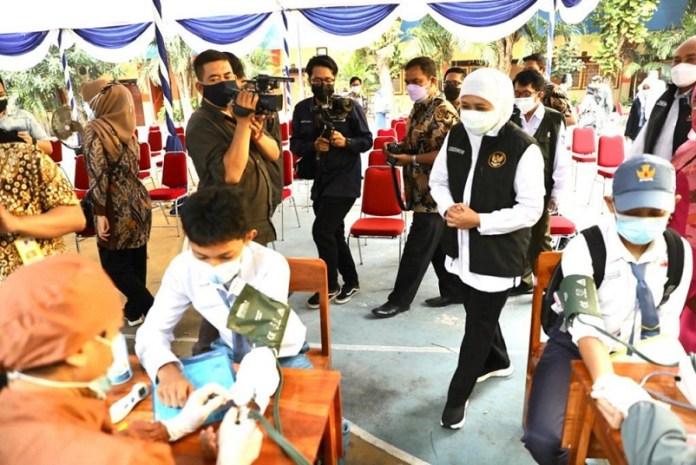 Anak dibawah usia 18 tahun di Jatim Terkena Covid Mencapai 22.107 kasus. Gubernur Khofifah Ajak Lindungi Anak-Anak Jawa Timur dengan Masifkan Vaksinasi Covid-19