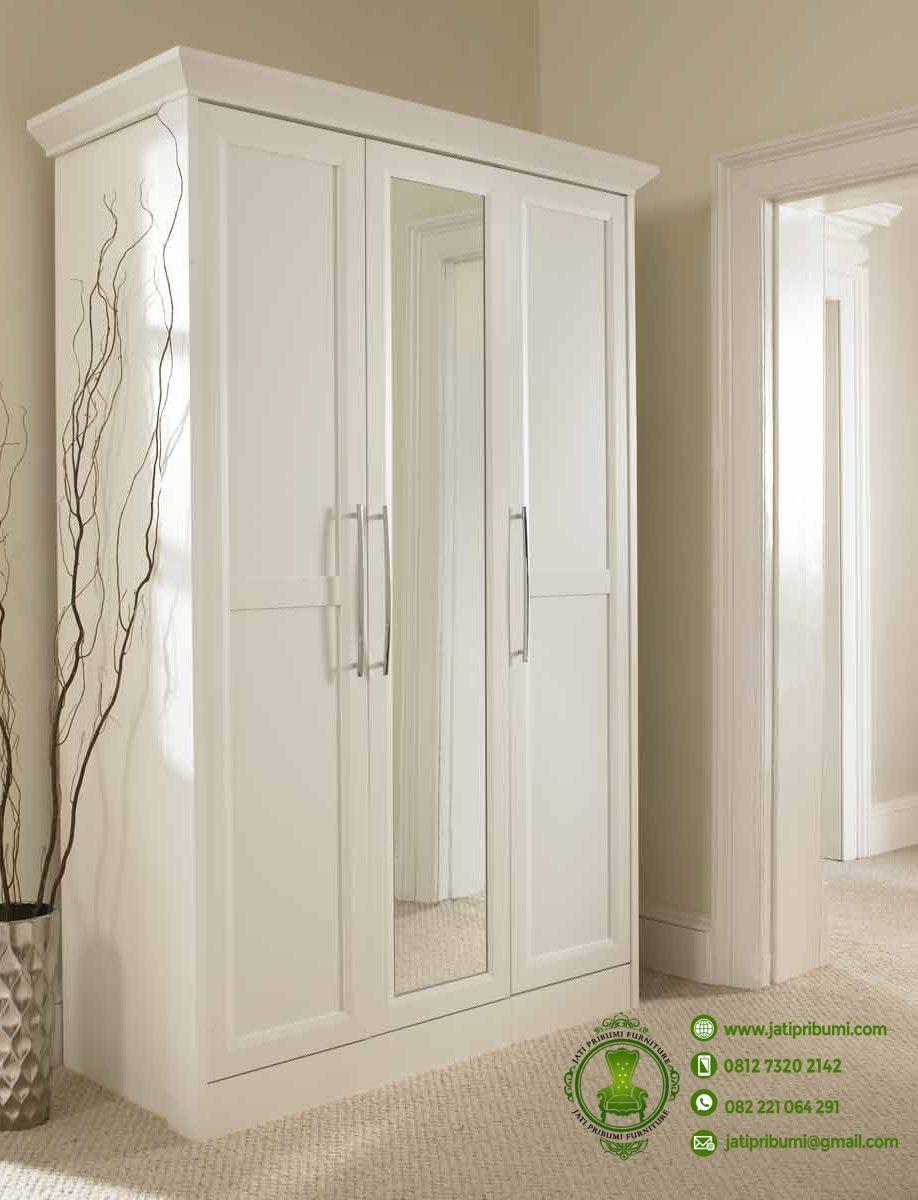 Lemari Baju Minimalis Pintu 3 Putih  Jati Pribumi