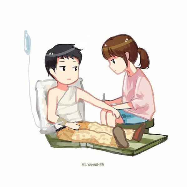 Gambar Kartun Kapten Yoo Sijin & Dr. Kang Mo Yeon di Rumah sakit