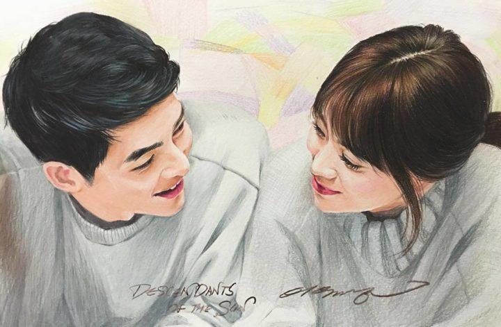 Pencil Art Song Joong Ki dan Song Hye Kyo HD