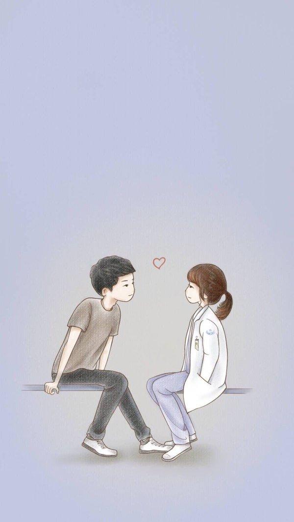 Wallpaper Smartphone Kapten Yo Si Jin dan Dr. Kang Moyeon Cartoon