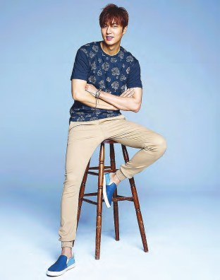 Lee Min Ho in a blue shirt