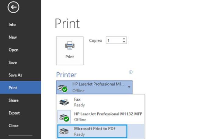 Microsoft Print PDF Windows 10