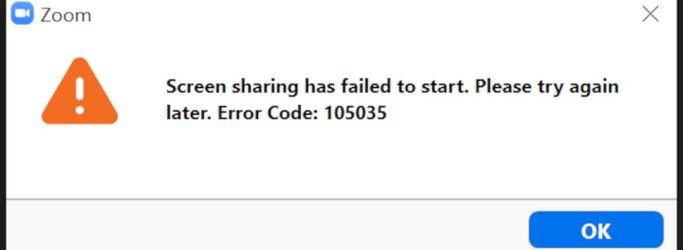 Zoom Error Code 105035