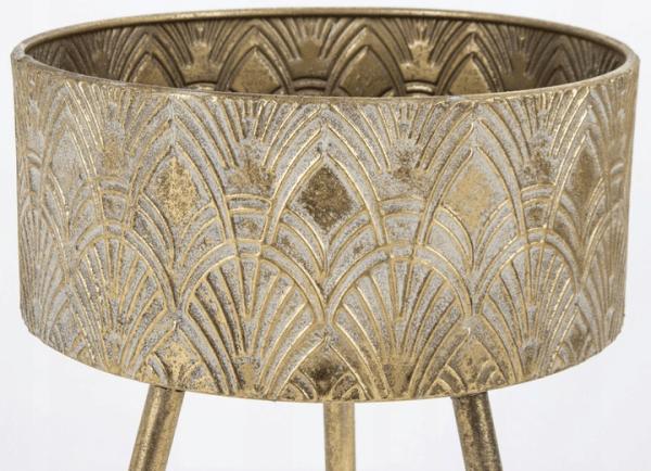 Metalinis stovas gėlėms 59cm sendintas auksas