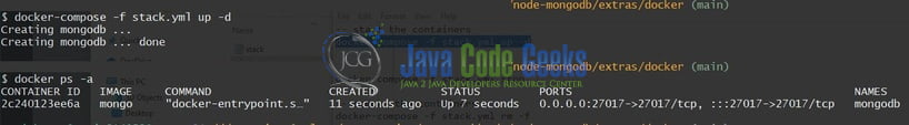 node js mongo db tutorial - container status