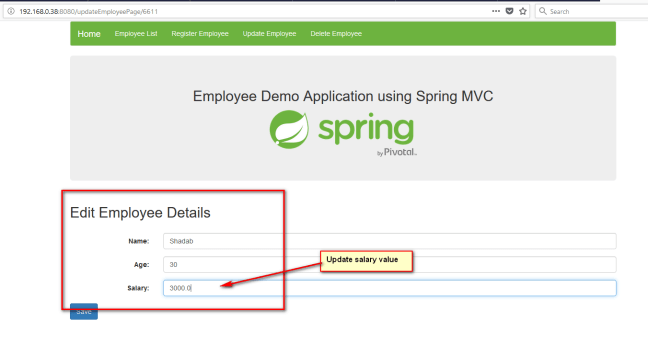 updating employees spring mvc 2