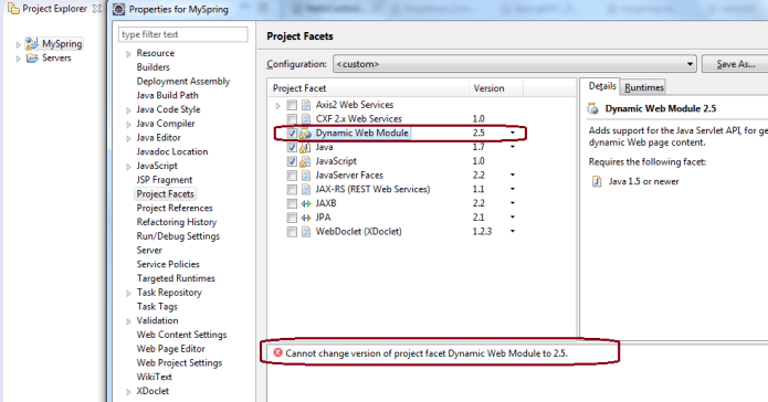 Change version of project facet Dynamic Web Module to 2.5