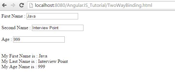 AngularJS Two-Way Data Binding Example