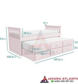 Dimensi Tempat Tidur Anak Double Bed Sorong Minimalis