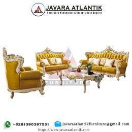 Kursi Sofa Ukir Mewah Modern JAF0280 Yellow