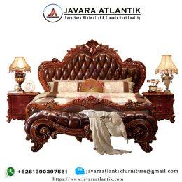Set Tempat Tidur Jati Ukiran JAF0288 Natural Klasik