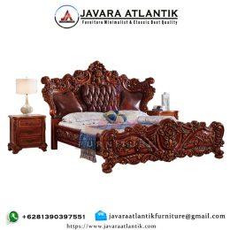Tempat Tidur Ukir Jati JAF0289 Natural Mewah
