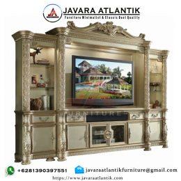 Bufet Tv Mewah Klasik Gold Ukiran