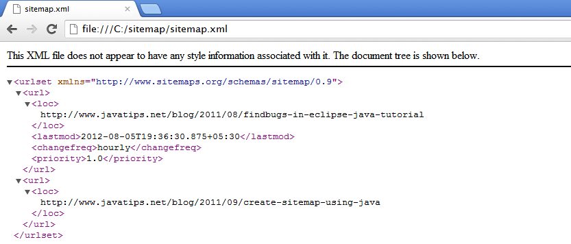 Create Sitemap Using Java