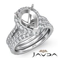 Pear Halo Diamond Semi Mount Engagement Wedding Ring ...