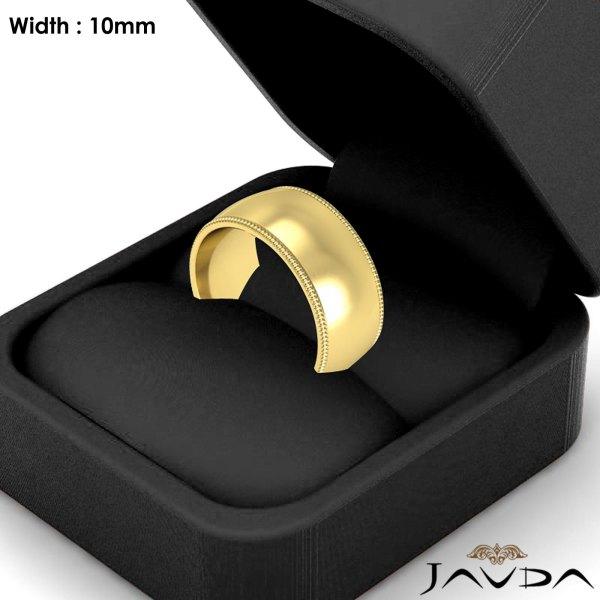 Women Milgrain Comfort Ring 10mm 14k Yellow Gold Wedding Band 12.1gm Size 7-7.75