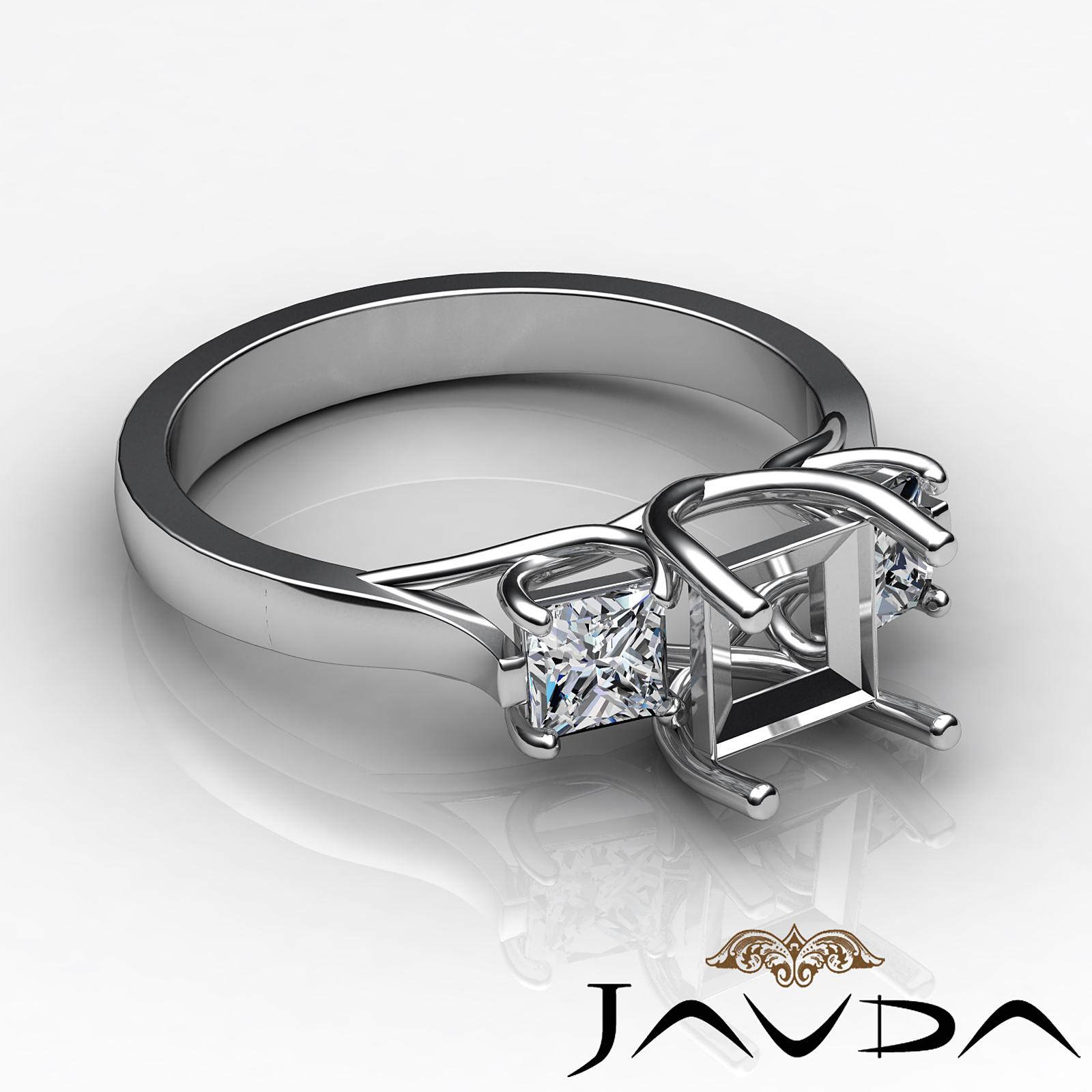 Diamond Three Stone Engagement Ring setting Platinum