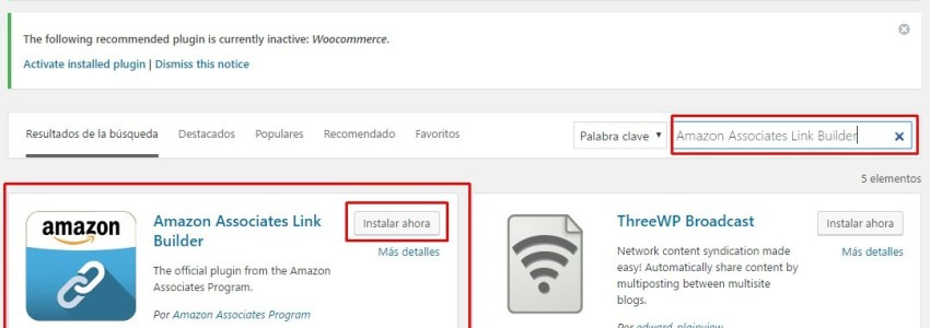 Instalar Amazon Associates Link Builder