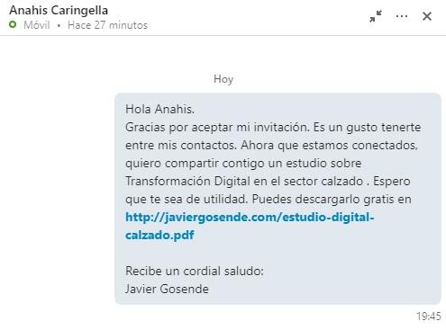 mensaje gracias contacto linkedin con enlace a descargable