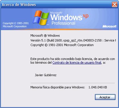 Service Pack 2 para Windows XP