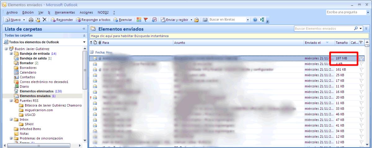 Email de 200 Mb